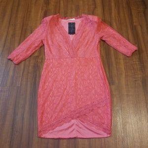 Dresses & Skirts - Sexy Coral Lace Mini Dress